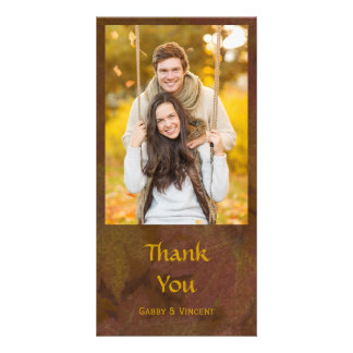 Fall Colored Maple Leaves Thank You Custom Photo Card