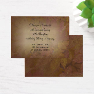 Fall Colored Maple Leaves Wedding Reception Card