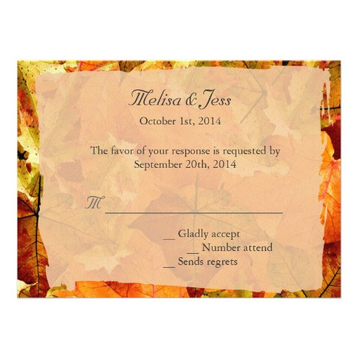 Fall colorful leaves RSVP wedding invitations. Personalized Announcement