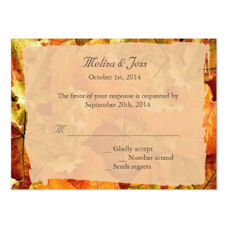 Fall colorful leaves RSVP wedding invitations. Card