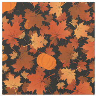 fall colors autumn maple leaves pumpkins pattern fabric