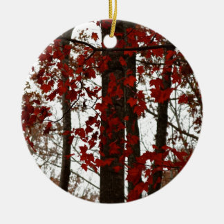 Fall Colors Autumn Trees Red Canadian Maple Leaves Round Ceramic Ornament