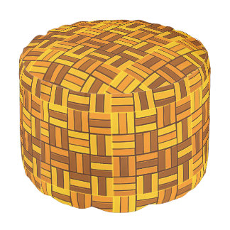 Fall colors, ceramic-look tiled pattern pouf