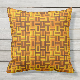 Fall colors, ceramic-look tiled pattern throw pillow