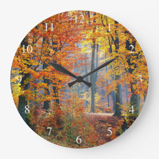 Fall Colors Forest Small Numbers Large Clock