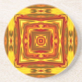 fall colors gold red orange abstract geometric coaster