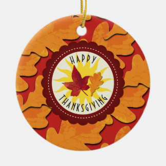 Fall Colors Happy Thanksgiving Ceramic Ornament