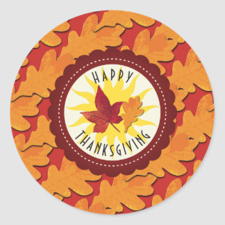 Fall Colors Happy Thanksgiving Classic Round Sticker