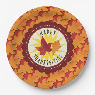 Fall Colors Happy Thanksgiving Paper Plate