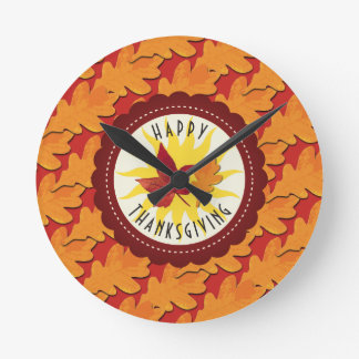 Fall Colors Happy Thanksgiving Round Clock