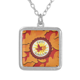 Fall Colors Happy Thanksgiving Silver Plated Necklace