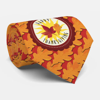 Fall Colors Happy Thanksgiving Tie