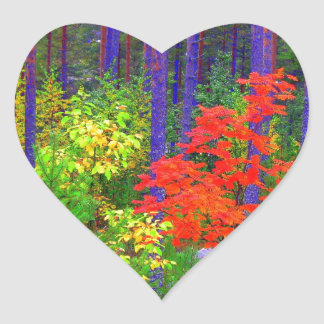 Fall colors heart sticker