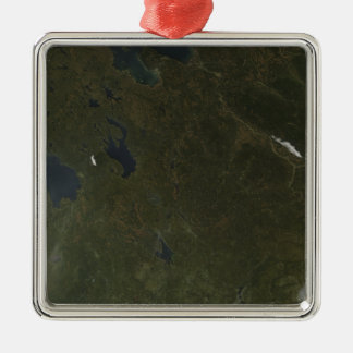 Fall colors in northwestern Russia Silver-Colored Square Ornament
