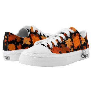 fall colors maple leaves and pumpkins Low-Top sneakers