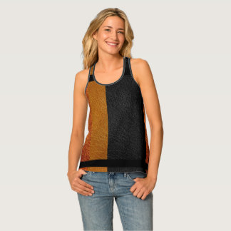 Fall Colours All-Over Print Leather Look Tank Top