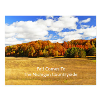 """""""FALL COMES TO THE MICHIGAN COUNTRYSIDE"""" POSTCARD"""