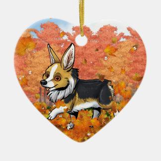 Fall Corgi Ceramic Heart Ornament