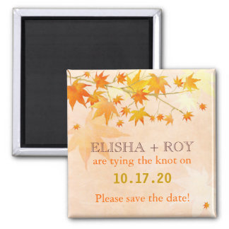 Fall Country Maple Leaf Cute Wedding Save the Date Refrigerator Magnet
