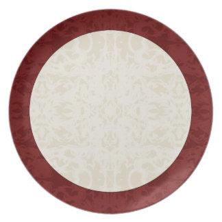 Fall Cream and Maroon Fleur Melamine Plate