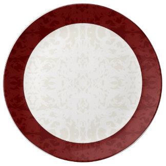 Fall Cream and Maroon Fleur Porcelain Plate