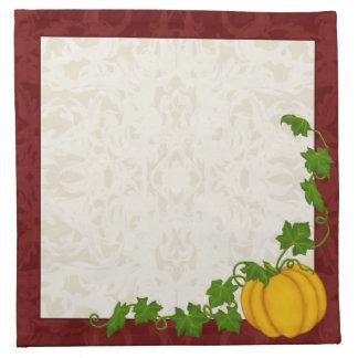 Fall Cream and Maroon Fleur Pumpkin Napkin