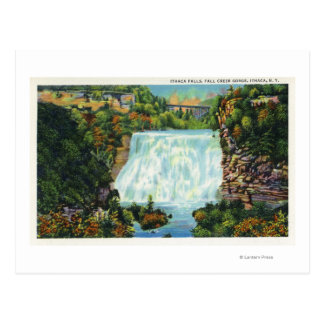 Fall Creek Gorge View, Ithaca Falls Scene Postcard