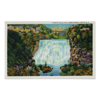 Fall Creek Gorge View, Ithaca Falls Scene Poster