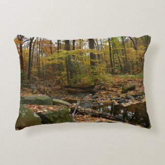 Fall Creek with Reflection at Laurel Hill Park Decorative Pillow