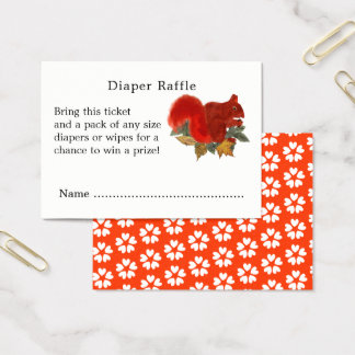 Fall Cute Red Squirrel Diaper Raffle Tickets