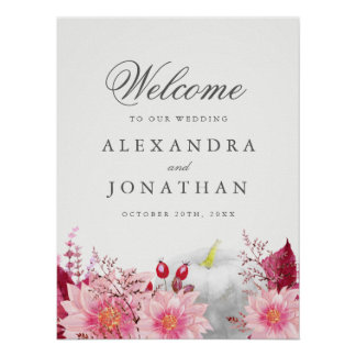Fall Dahlia and Pumpkin Wedding Welcome Poster