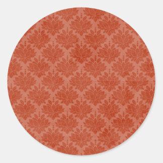 Fall Damask Envelope Seal Round Sticker
