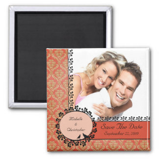 Fall Damask Love Birds Photo Save The Date Magnet