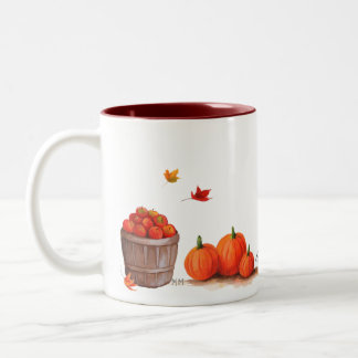 Fall Day with Pumpkins Leaves Apples and Rake Two-Tone Coffee Mug