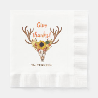 Fall Deer Head Skull Give Thanks Typography Disposable Napkin
