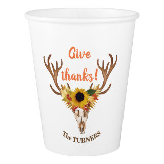 Fall Deer Head Skull Give Thanks Typography Paper Cup