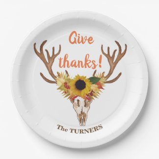 Fall Deer Head Skull Give Thanks Typography Paper Plate