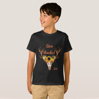 Fall Deer Head Skull Give Thanks Typography T-Shirt