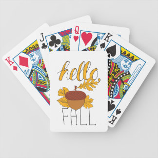 Fall Doodle Bicycle Playing Cards