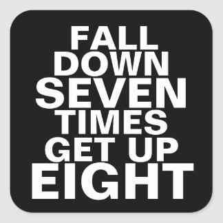 Fall Down Workout Motivation Square Sticker