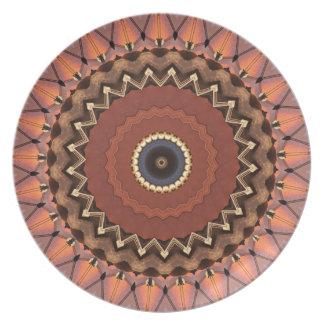 Fall Earth Tones Mod Geometric Contemporary Plate
