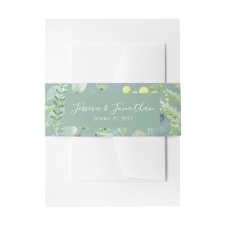 Fall Eucalyptus Berry Floral Belly Band Invitation Belly Band