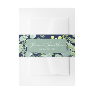 Fall Eucalyptus Berry Floral Belly Band Navy Invitation Belly Band