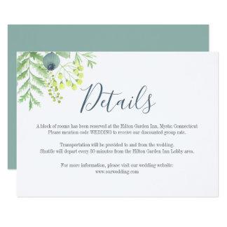 Fall Eucalyptus Berry Floral Wedding Details Card