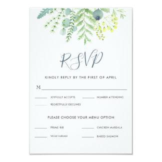 Fall Eucalyptus Berry Floral Wedding RSVP Card