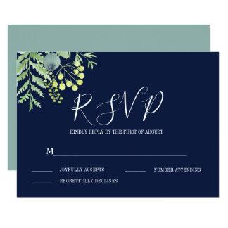 Fall Eucalyptus Berry Floral Wedding RSVP Navy Card