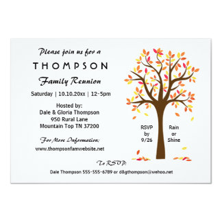 """Fall Family Reunion, Party or Event 4.5"""" X 6.25"""" Invitation Card"""