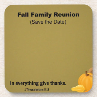 Fall Family Reunion: Save the Date. Drink Coaster