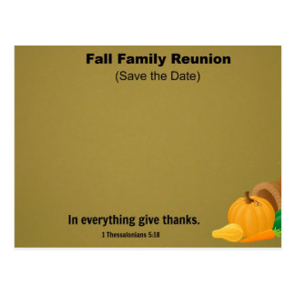 Fall Family Reunion: Save the Date. Post Card