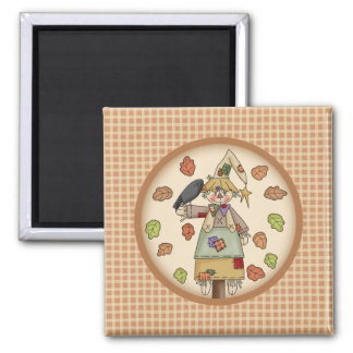 Fall Festive Scarecrow Illustration on Tan Plaid Refrigerator Magnets